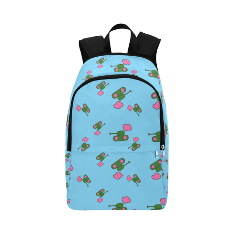 Blue tank cloud print Fabric Backpack ${product-type) ${shop-name)
