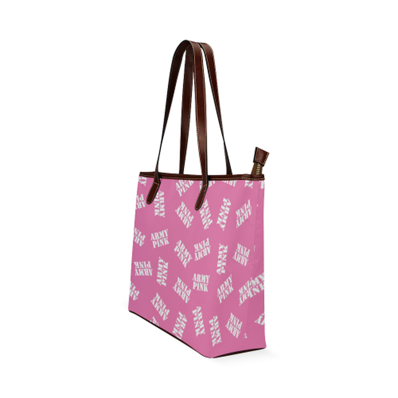 White stamps on pink Shoulder Tote Bag (Model 1646) for  at ARMY PINK