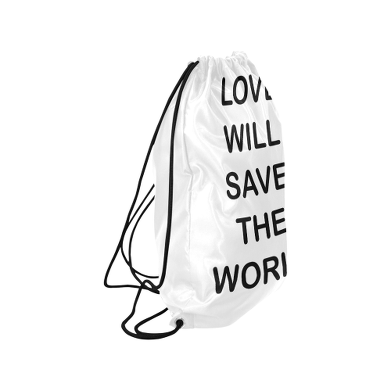 "Black love will save Medium Drawstring Bag Model 1604 (Twin Sides) 13.8""(W) * 18.1""(H) for  at ARMY PINK"