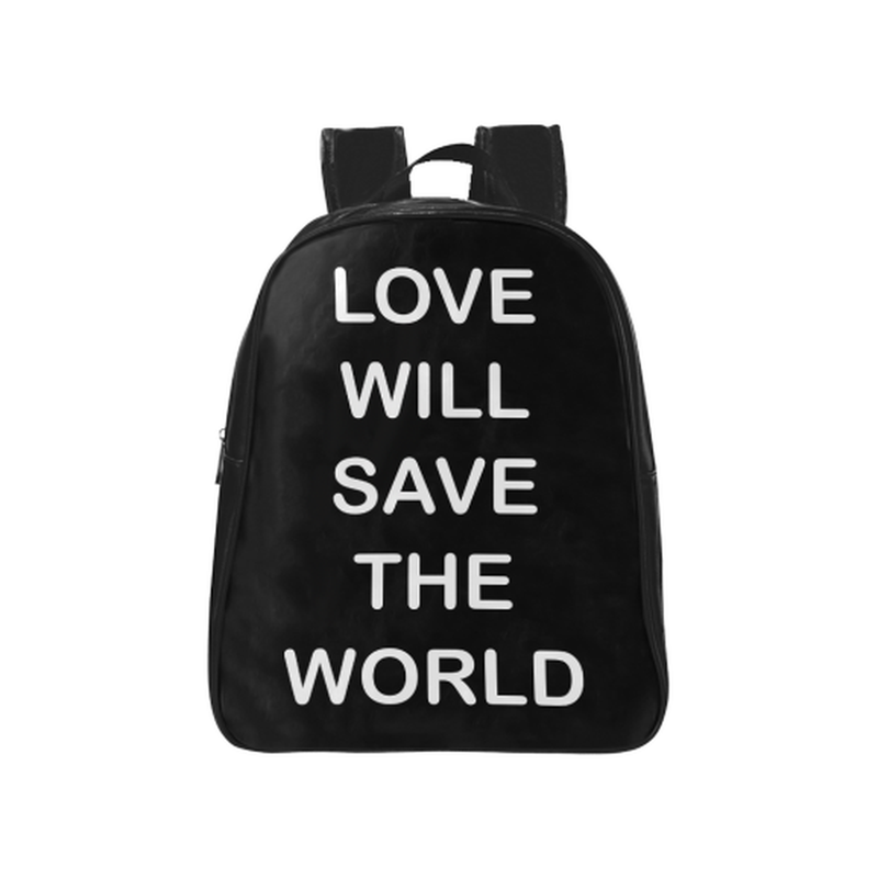 Love will save in white on black School Backpack (Model 1601)(Medium) for  at ARMY PINK