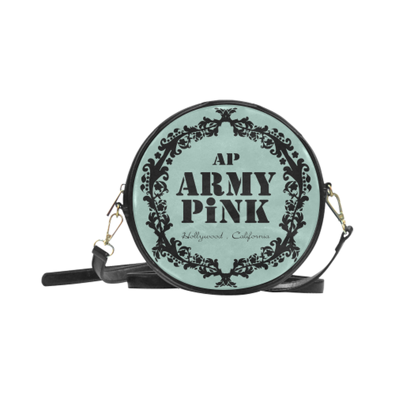 Black wreath on mint Round Sling Bag for  at ARMY PINK
