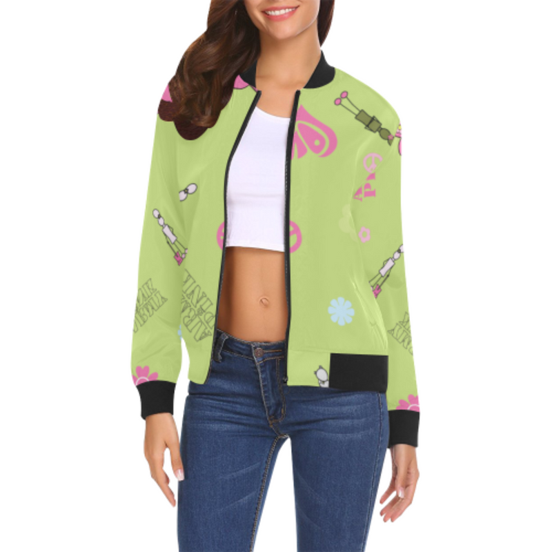 Logo print green Bomber Jacket for 55.00 at ARMY PINK