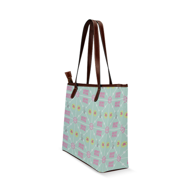 Diamond logo pattern on mint Shoulder Tote Bag (Model 1646) for  at ARMY PINK