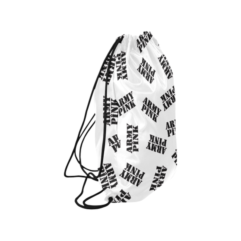 "Black stamps on white Medium Drawstring Bag Model 1604 (Twin Sides) 13.8""(W) * 18.1""(H) for  at ARMY PINK"