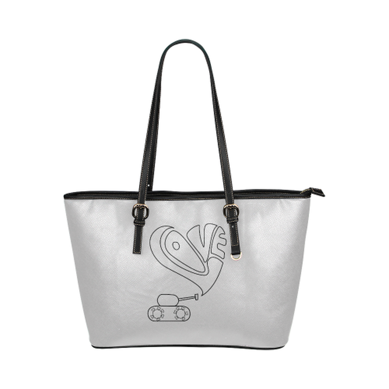 Gray love tank leather Tote Bag for  at ARMY PINK