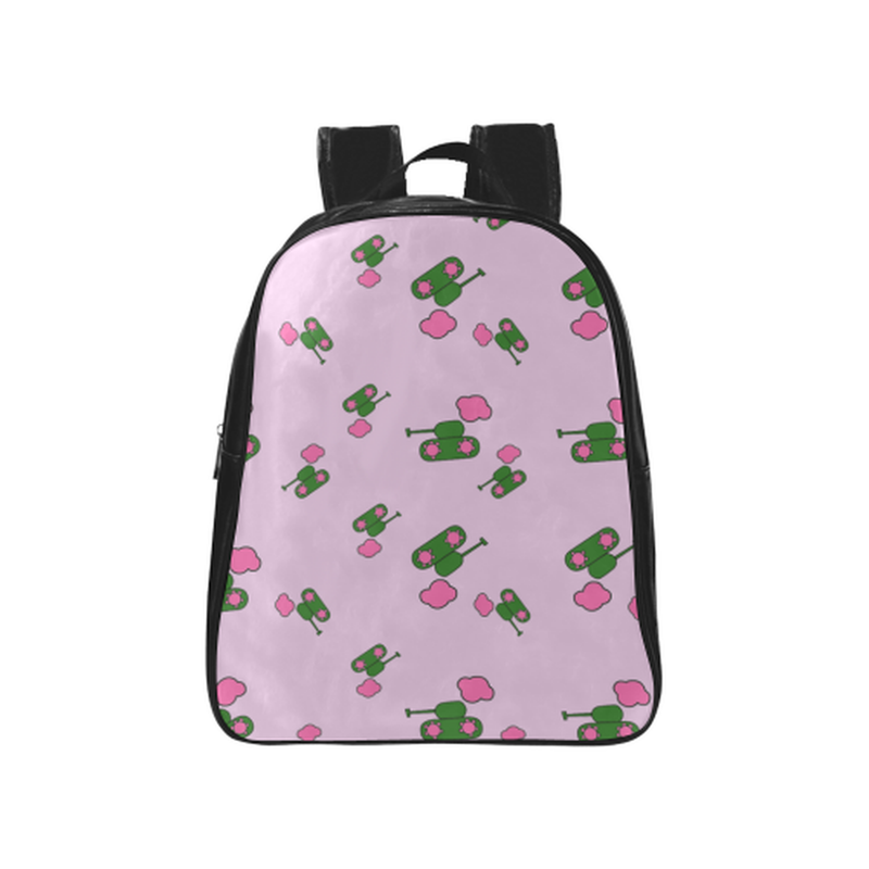 Tanks and clouds on violet School Backpack (Model 1601)(Medium) for  at ARMY PINK