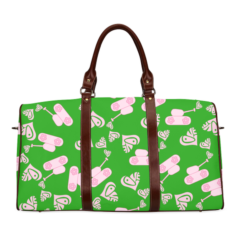 small travel bag light pink love tanks on green Waterproof Travel Bag/Small (Model 1639) for  at ARMY PINK