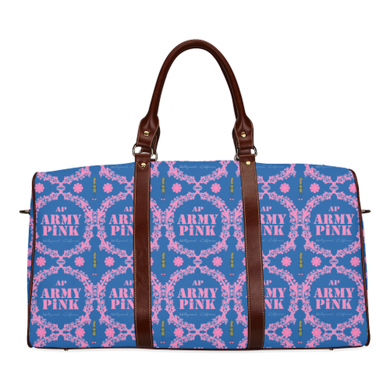 Violet wreath on royal Waterproof Travel Bag/Small (Model 1639) ${product-type) ${shop-name)