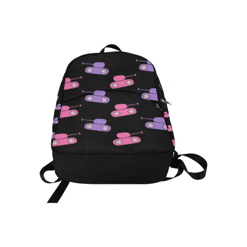Pink and purple tanks on black Fabric Backpack for Adult (Model 1659) for  at ARMY PINK