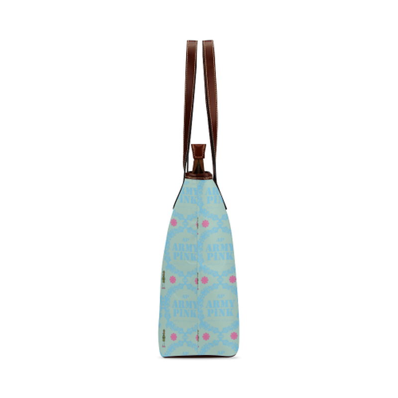 Blue wreaths on mint Shoulder Tote Bag (Model 1646) ${product-type) ${shop-name)