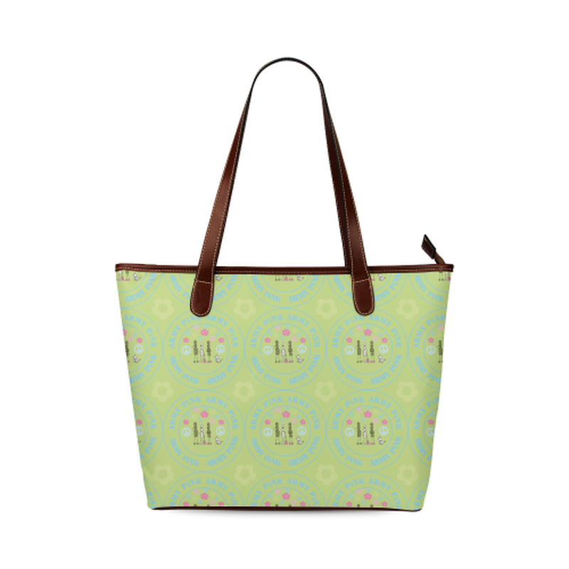Logo pattern on green Shoulder Tote Bag (Model 1646) for  at ARMY PINK
