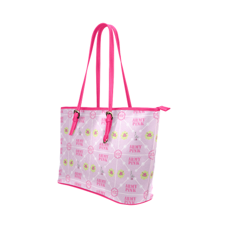 Diamond logo pattern on violet Leather Tote Bag/Small (Model 1651) for  at ARMY PINK