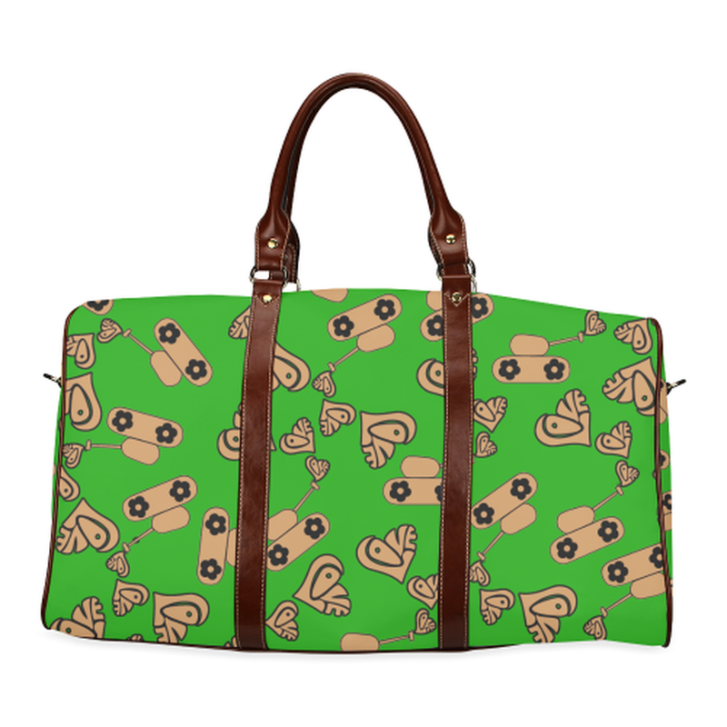 large travel bag with love tank in tan on green Waterproof Travel Bag/Large (Model 1639) for  at ARMY PINK
