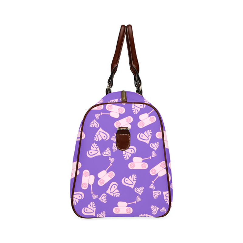small travel bag light pink love tanks on purple Waterproof Travel Bag/Small (Model 1639) for  at ARMY PINK