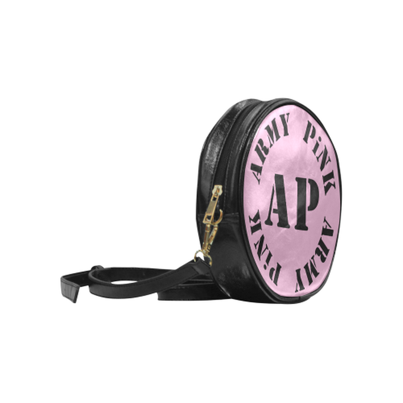 AP Logo On Pink Round Sling Bag for  at ARMY PINK