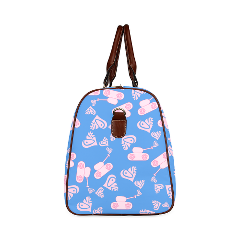 small travel bag light pink love tank on blue Waterproof Travel Bag/Small (Model 1639) for  at ARMY PINK