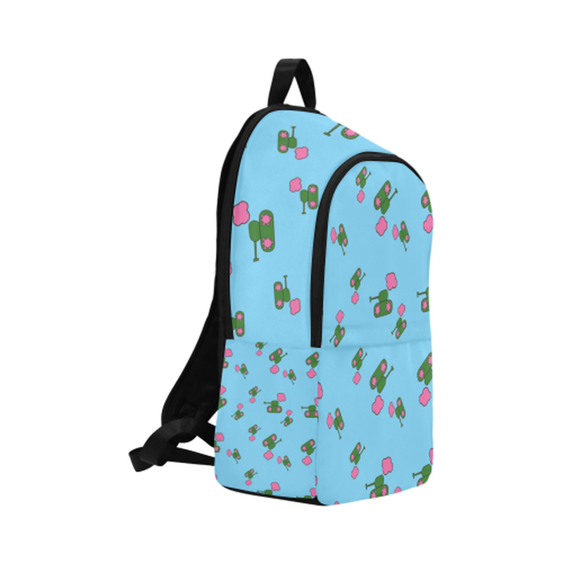 Blue tank cloud print Fabric Backpack for  at ARMY PINK