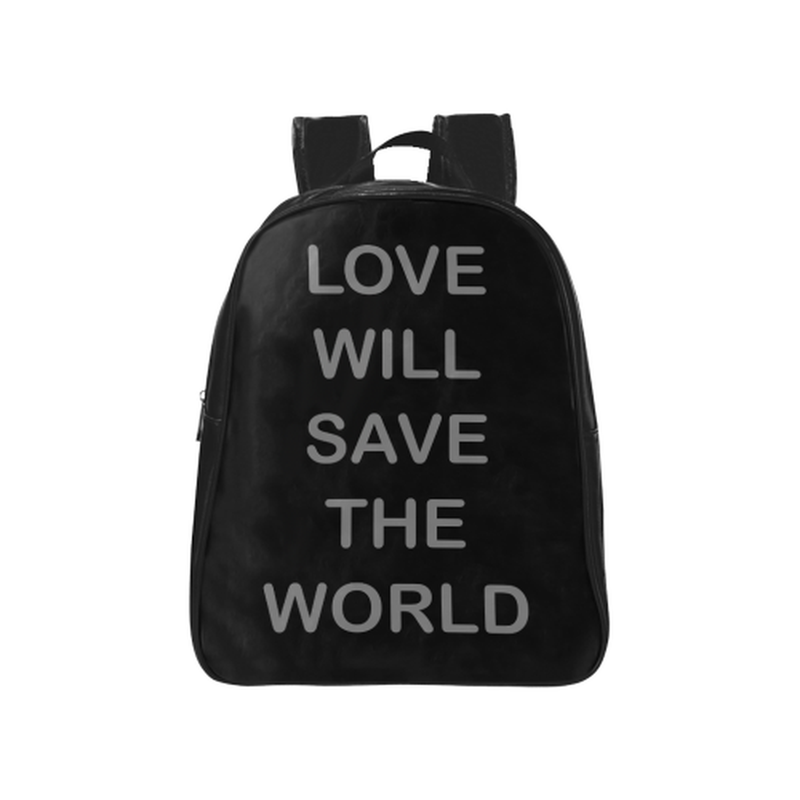 Love will save in gray on black School Backpack (Model 1601)(Medium) for  at ARMY PINK