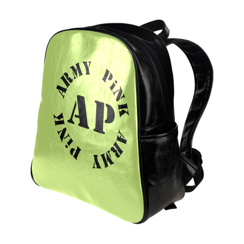 Round logo on green Multi-Pockets Backpack for  at ARMY PINK