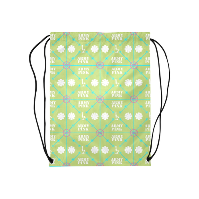 "Diamond logo on green Medium Drawstring Bag Model 1604 (Twin Sides) 13.8""(W) * 18.1""(H) for  at ARMY PINK"