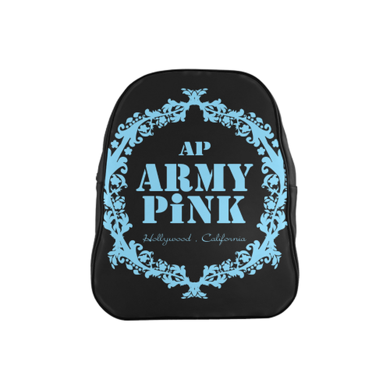 Blue wreath on black School Backpack (Model 1601)(Medium) for  at ARMY PINK