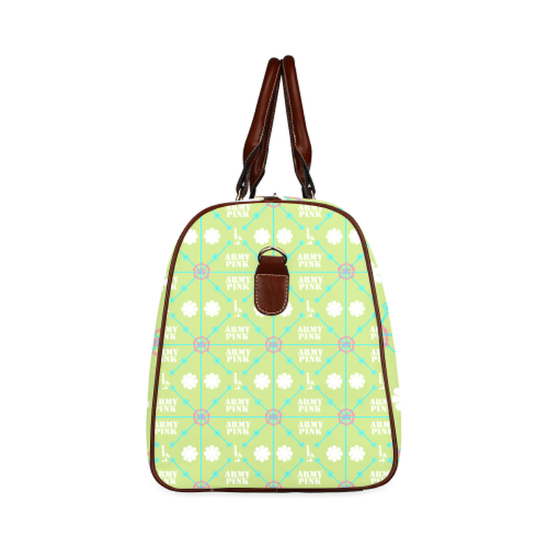 small travel diamond marcher aop on green Waterproof Travel Bag/Small (Model 1639) for  at ARMY PINK