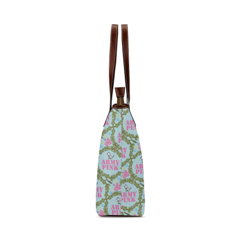 Green wreath on mint Shoulder Tote Bag (Model 1646) for  at ARMY PINK