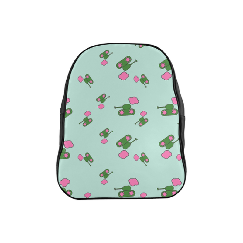 Tanks and clouds on mint School Backpack (Model 1601)(Medium) for  at ARMY PINK