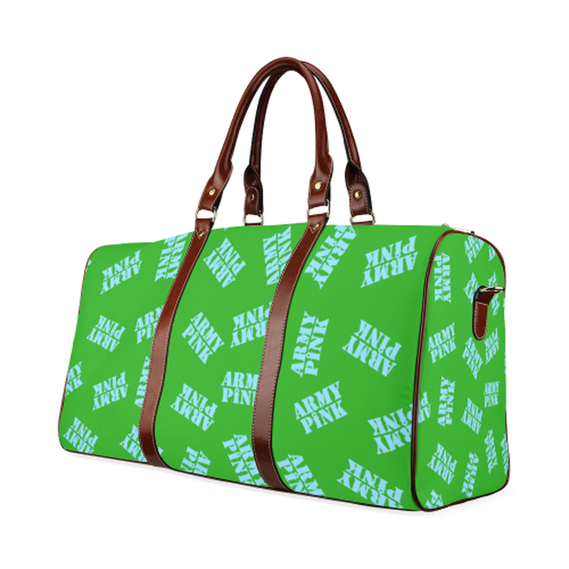 small travel bag blue army pink stamp on green Waterproof Travel Bag/Small (Model 1639) for  at ARMY PINK