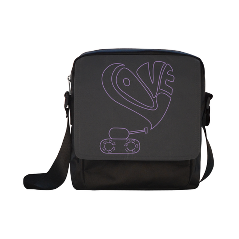 Purple love tank on black Crossbody Nylon Bags (Model 1633) for  at ARMY PINK
