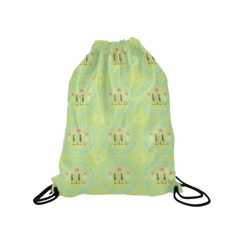 "Logo print on green Medium Drawstring Bag Model 1604 (Twin Sides) 13.8""(W) * 18.1""(H) for  at ARMY PINK"