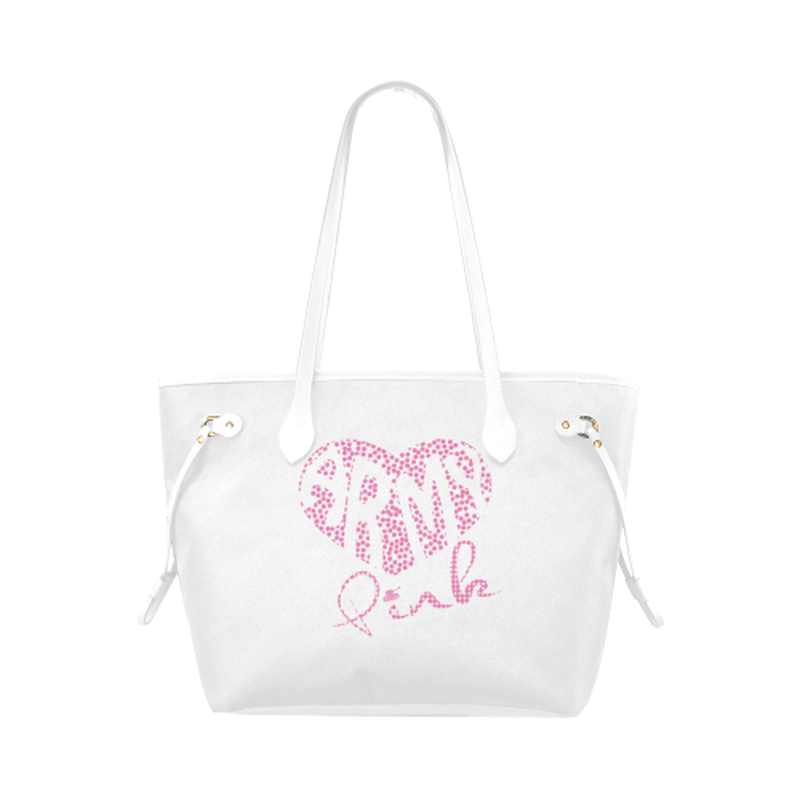Pink dot heart on white Clover Canvas Tote Bag (Model 1661) for  at ARMY PINK