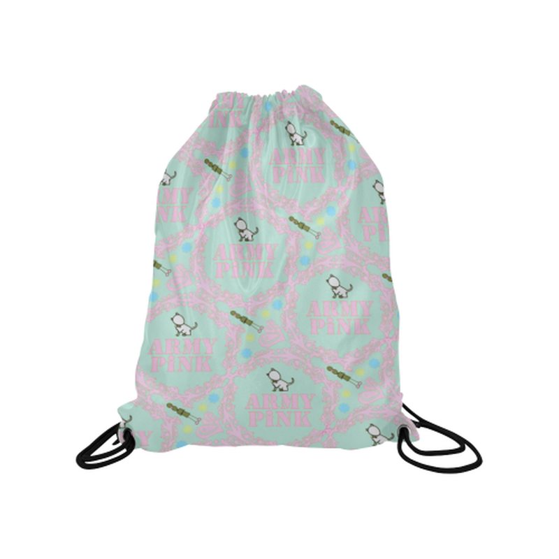 "Lavender wreaths on mint Medium Drawstring Bag Model 1604 (Twin Sides) 13.8""(W) * 18.1""(H) for  at ARMY PINK"