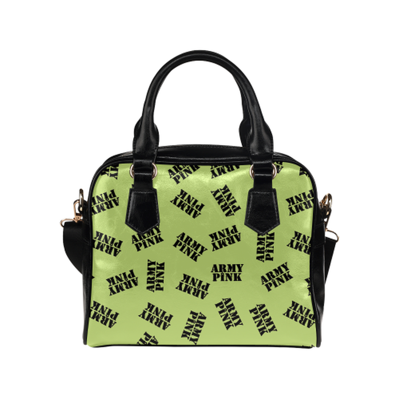 Black stamps on green Shoulder Handbag ${product-type) ${shop-name)