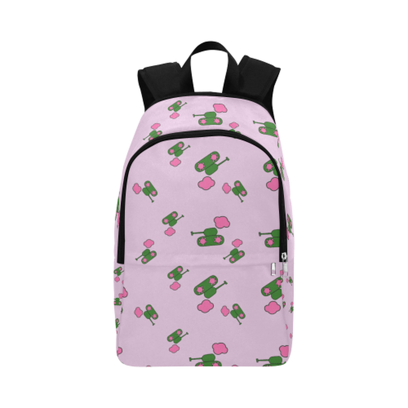 Pink tank cloud print Fabric Backpack ${product-type) ${shop-name)