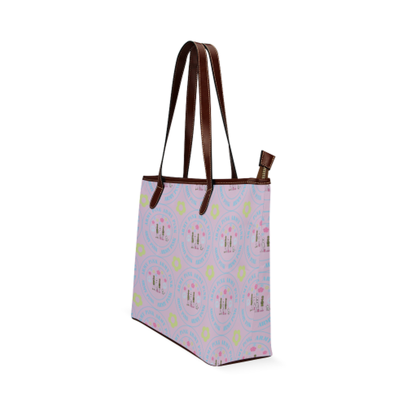 Logo pattern on violet Shoulder Tote Bag (Model 1646) for  at ARMY PINK