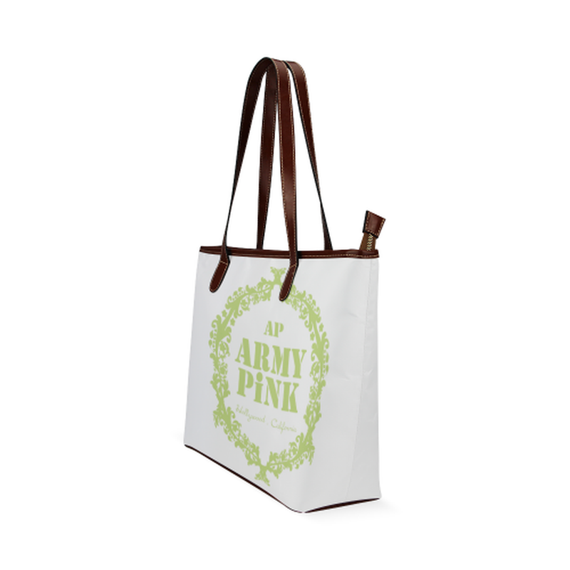 Green wreath on white Shoulder Tote Bag (Model 1646) for  at ARMY PINK