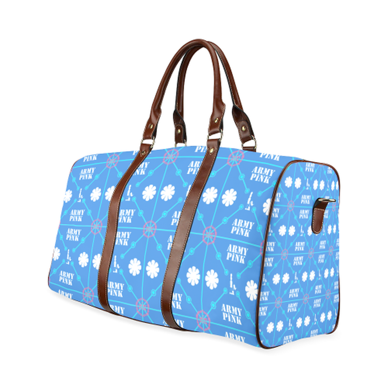 large travel bag diamond aop on blue Waterproof Travel Bag/Large (Model 1639) for  at ARMY PINK