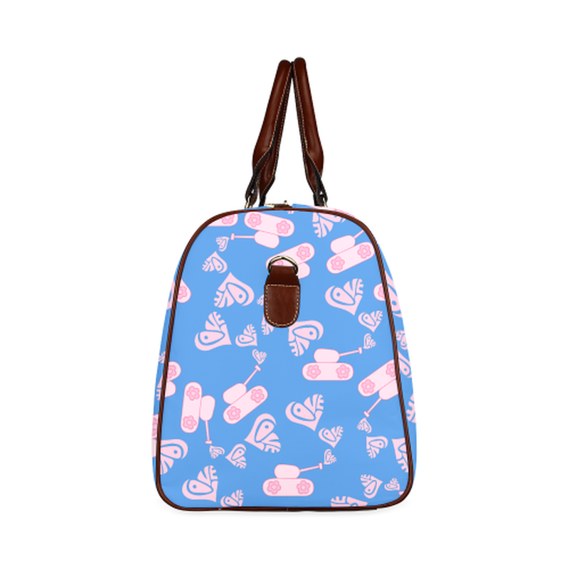 large travel bag light pink love tank on blue Waterproof Travel Bag/Large (Model 1639) for  at ARMY PINK