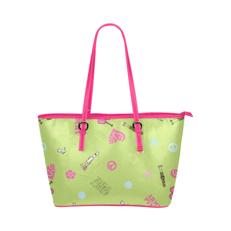 Green logo print leather Tote Bag ${product-type) ${shop-name)