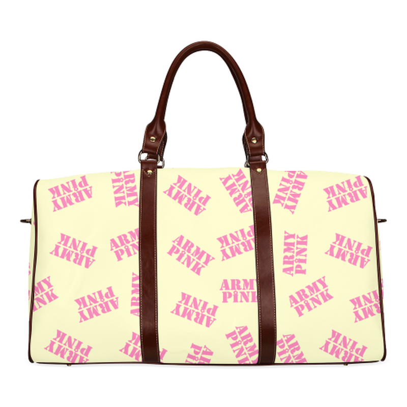 large travel pink stamps on yellow Waterproof Travel Bag/Large (Model 1639) for  at ARMY PINK