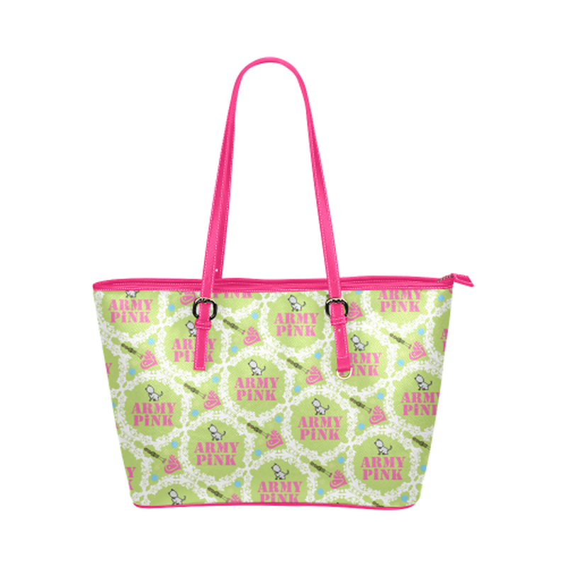 Green white wreath leather Tote Bag ${product-type) ${shop-name)