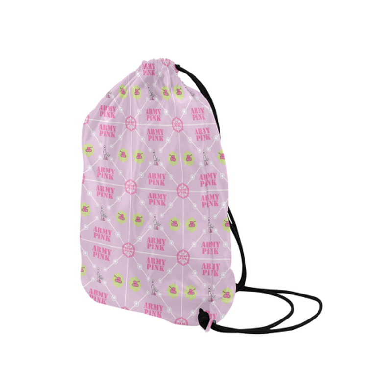 "Diamond logo on pink Medium Drawstring Bag Model 1604 (Twin Sides) 13.8""(W) * 18.1""(H) for  at ARMY PINK"