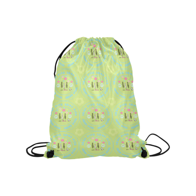 "Logo print on green Medium Drawstring Bag Model 1604 (Twin Sides) 13.8""(W) * 18.1""(H) ${product-type) ${shop-name)"