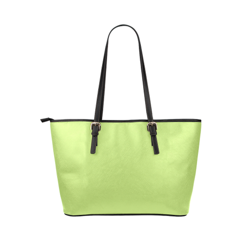 Green logo leather tote bag for  at ARMY PINK