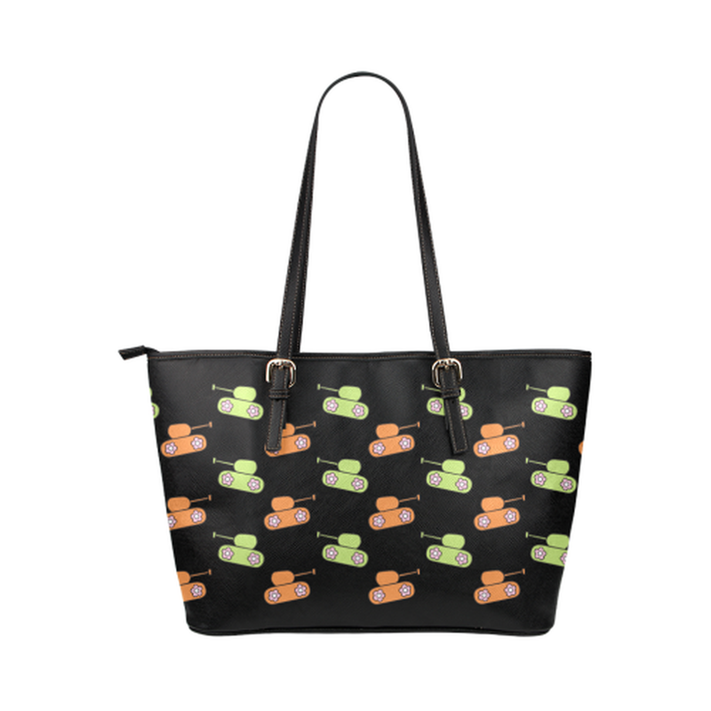 Orange and green tank print on black Leather Tote Bag/Small (Model 1651) ${product-type) ${shop-name)