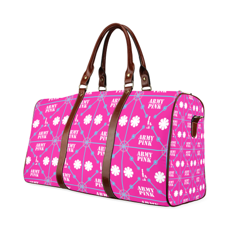small travek bag diamond aop on pink Waterproof Travel Bag/Small (Model 1639) for  at ARMY PINK