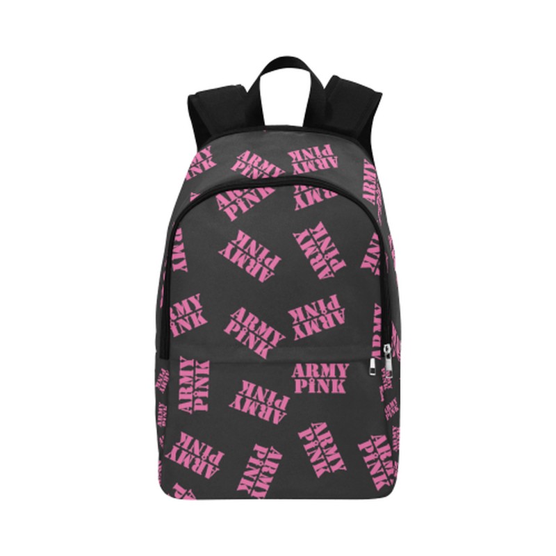 Pink stamps on black Fabric Backpack for Adult (Model 1659) ${product-type) ${shop-name)