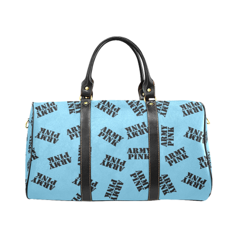 Small blue black stamp Travel Bag for  at ARMY PINK