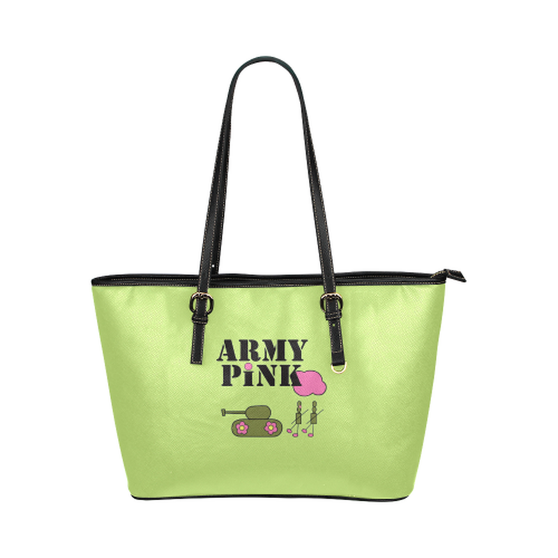 Green logo leather tote bag ${product-type) ${shop-name)